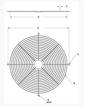 Drawing Illustration of Wire Ring Guards